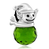 Charms Beads - silver leprechaun elf light green crystal lucky beads charms bracelets fit all brands Image.