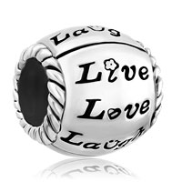 Charms Beads - silver plated flower live love laugh heart beads charms bracelets fit all brands Image.