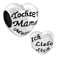 Charms Beads - heart tochter mama mutter ich liebe dich charm bracelet spacer silver Image.