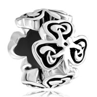 Charms Beads - heart three leaf irish knot clover charm bracelet spacers silver Image.