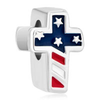 Charms Beads - silver plated america flag cross for beads charms bracelets fit all brands Image.
