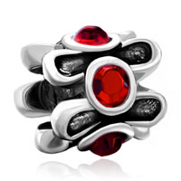 Charms Beads - silver plated red crystal floral european bead charms bracelets Image.