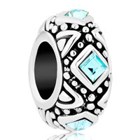 Charms Beads - aquamarine blue square crystal cz for two tone plated beads charms bracelets fit all brands Image.