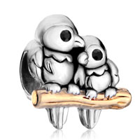 Charms Beads - silver 22k golden love birds twotone european bead charms bracelets Image.