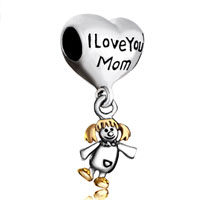 Mother Daughter Charms Heart I Love Mom American Girl Charm Beads