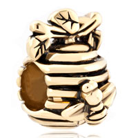 Charms Beads - 22k golden honeycomb bee branch european bead charms bracelets Image.