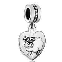 Charms Beads - zodiac animal charms for sign sheep dangle heart love charm beads Image.
