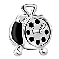 Sterling Silver Jewelry - 925  sterling silver alarm clock fits beads charms bracelets fit all brands Image.