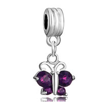 DPC_HD04_X02: silver butterfly charm bracelet amethyst purple february births spacer Image.