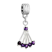 Charms Beads - silver sector amethyst purple february births charm spacers dangle Image.