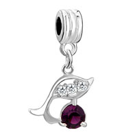Charms Beads - dolphin with amethyst purple february births charm spacers dangle Image.