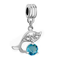 Charms Beads - pale blue birthstone dolphin crystal dangle beads charms bracelets Image.