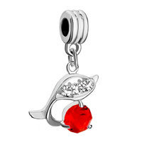 Charms Beads - july birthstone dolphin crystal dangle european bead charm bracelets Image.