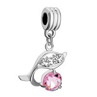 Charms Beads - silver dolphin rose pink october births charm bracelet spacer dangle Image.