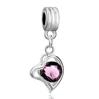Charms Beads - silver amethyst purple february births heart love charm spacer dangle Image.