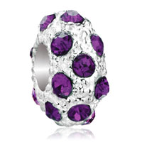 Charms Beads - white ball feburary birthstone purple crystal stripe european bead Image.