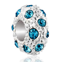 DPC_HD10_X03: silver white ball march birthstone blue crystal stripe european bead Image.