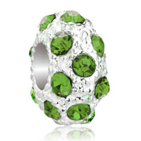 Charms Beads - silver august birthstone peridot green crystal stripe european bead Image.