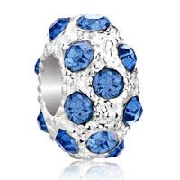 Charms Beads - silver december birthstone blue zircon crystal stripe european bead Image.
