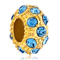 Charms Beads - lucky ball aquamarine blue gold plated beads charms bracelets fit all brands Image.