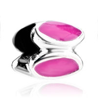 Charms Beads - silver circle pink leaf european infant charm bead charms bracelets Image.