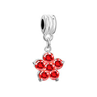 Charms Beads - silver january births garnet red flower charm bracelet spacer dangle Image.