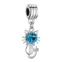 Charms Beads - birthstone charms cute cat aquamarine crystal march birthstone dangle beads Image.