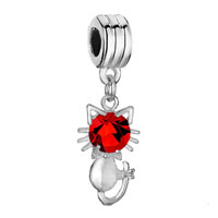 Charms Beads - silver plated cat charm bracelet red crystal july birthstone dangle Image.