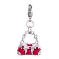 New Year Deals - fashion red white purse handbag gift fit all brands dangle european beads Image.