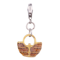 Charms Beads - golden tourism woven bag gift fit all brands dangle european beads Image.