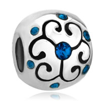 Charms Beads - jewelry aquamarine birthstone flower fit all brands beads charms bracelets Image.