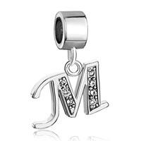 Charms Beads - letter bracelet charms initial m dangle alphabet european bead Image.
