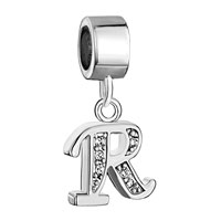 Charms Beads - letter bracelet charms initial r dangle alphabet european bead Image.