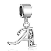 Charms Beads - letter bracelet charms initial a dangle alphabet european bead Image.