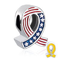 Charms Beads - usa flag yellow ribbon beads charms bracelets fit all brands Image.