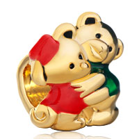 Charms Beads - lovely twins teddy care bear for heart forever love gold plated beads charms bracelets fit all brands Image.