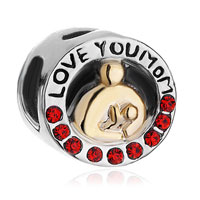 Mother Daughter I Love Mom Red Swarovski Crystal Beads Charm Bracelet