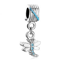 Charms Beads - dragonfly march birthstone crystal dangle beads charm bracelets Image.