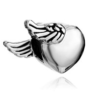 Charms Beads - silver plated heart charm bracelet side wings love european bead Image.