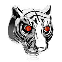 Charms Beads - vivid head white tiger ruby rhinestone crystal evil eye charm bracelet Image.