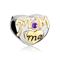 Mother Daughter Charms Purple Crystal Golden Love Mom Heart Charm