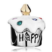 Birthday Cake Happy Bday White Drip Gum Colorful Crystal Beads Charm