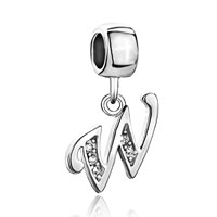 Charms Beads - letter initial w april birthstone dangle alphabet beads charm bracelet Image.