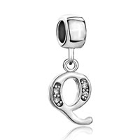 Charms Beads - letter initial q april birthstone dangle alphabet beads charm bracelet Image.