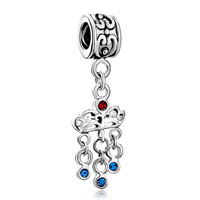 Charms Beads - crown light siam crystal dangle triple september births sapphire bead Image.