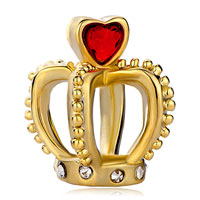 Charms Beads - birthstone charms heart july birthstone red crystal golden crown clear european beads Image.