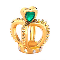 Charms Beads - filigree golden crown holding green element crystal heart charm love Image.