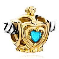Charms Beads - golden crown blue aquamarine crystal heart charm bracelet beads Image.