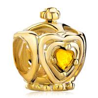 Charms Beads - golden crown november births topaz crystal heart charm bracelet beads Image.