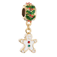 Charms Beads - silver holly charm bracelet spacers gingerbread man cookie bracelets Image.